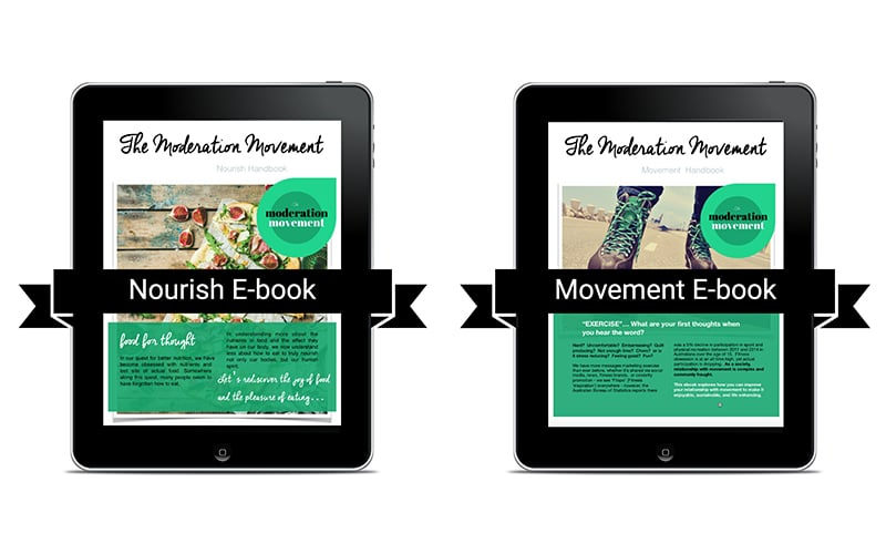 Two i-pad screens with covers of Moderation Movement e-books displayed