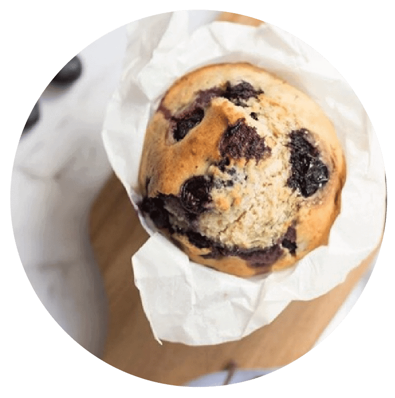 Work with a Dietitian in Melbourne to enjoy all foods again like this blueberry muffin