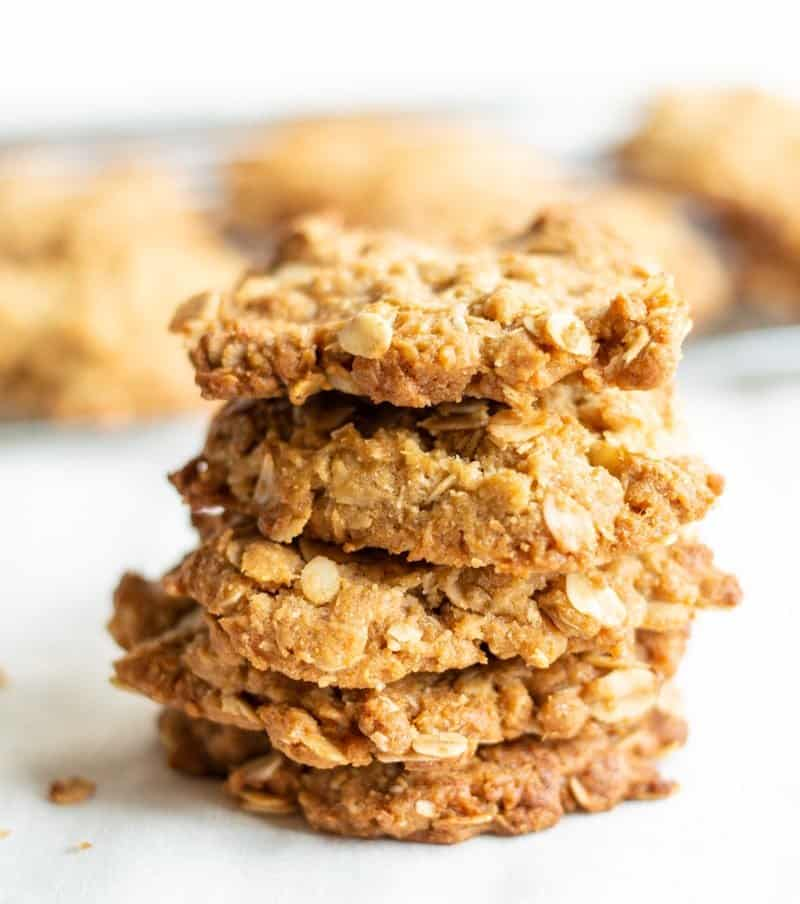 Stack of five traditional ANZAC biscuits