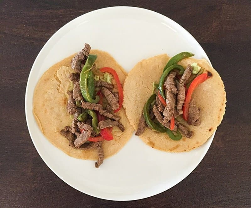 Food fail! Two low FODMAP fajitas on a plate