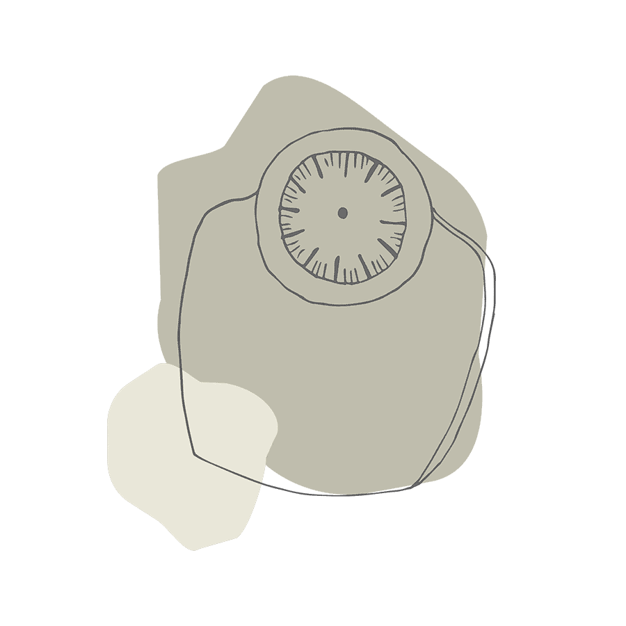 Illustration of a set of bathroom scales on an abstract olive green background.