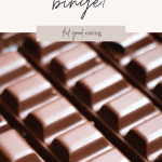 A close up of rows and rows of chocolate. Text overlay reads: What is considered a binge?